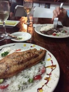 The coconut rice and grouper is a great combination of flavors.