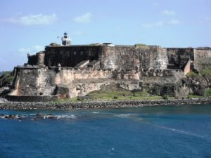 Fort Morro stands majestically with it's high walls and imposing structure.